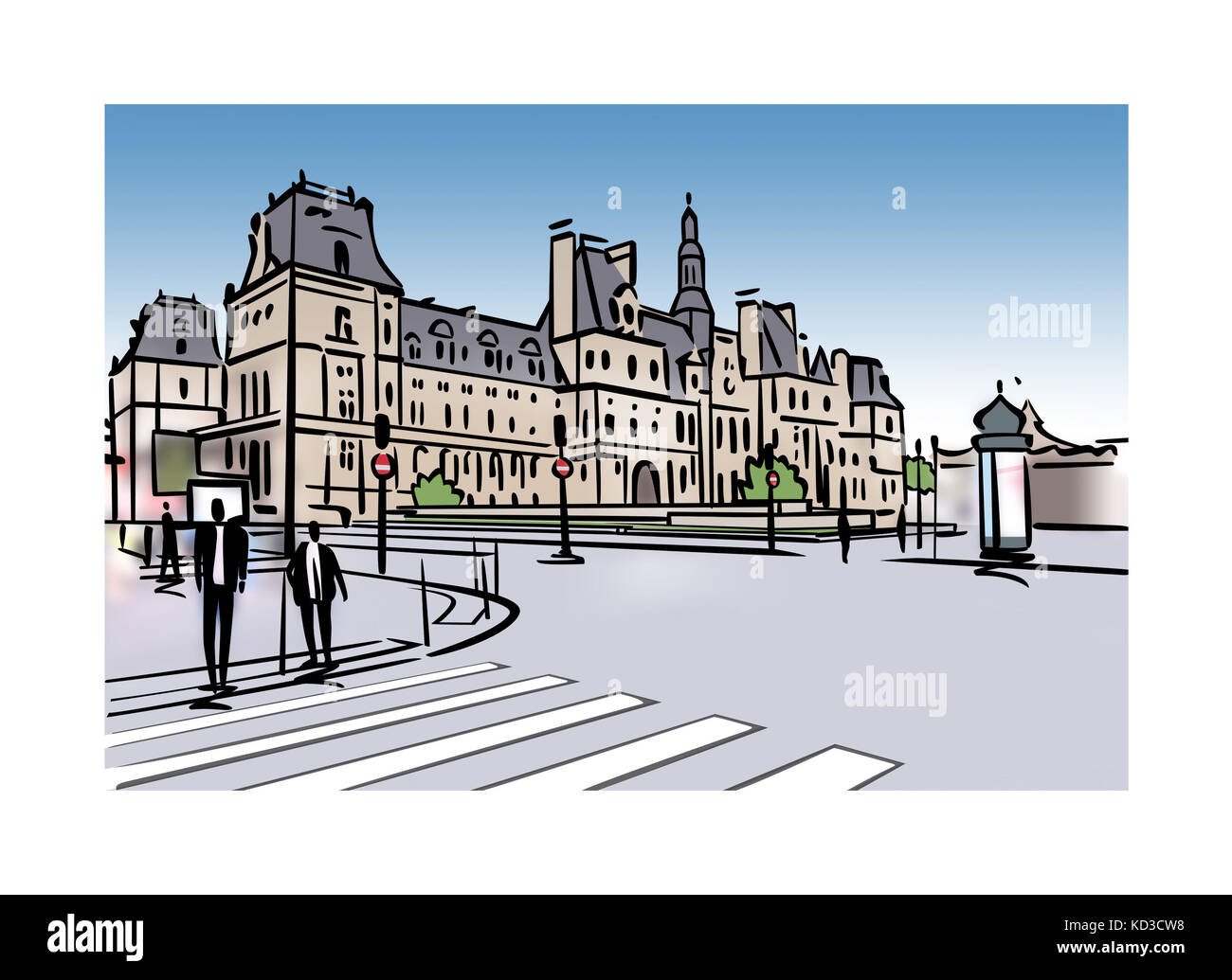 Illlustration des Hotel de Ville in Paris, Frankreich Stockfoto