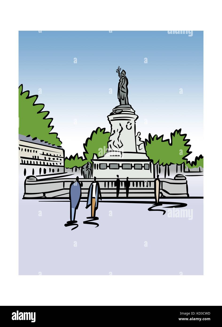 Abbildung: Place de la Republique in Paris, Frankreich Stockfoto