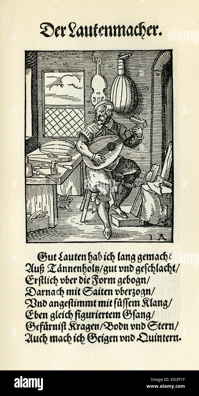 Laute Teekocher (Der lautenmacher), aus dem Buch von Trades/das standebuch (panoplia omnium illiberalium mechanicarum...), Stockbild