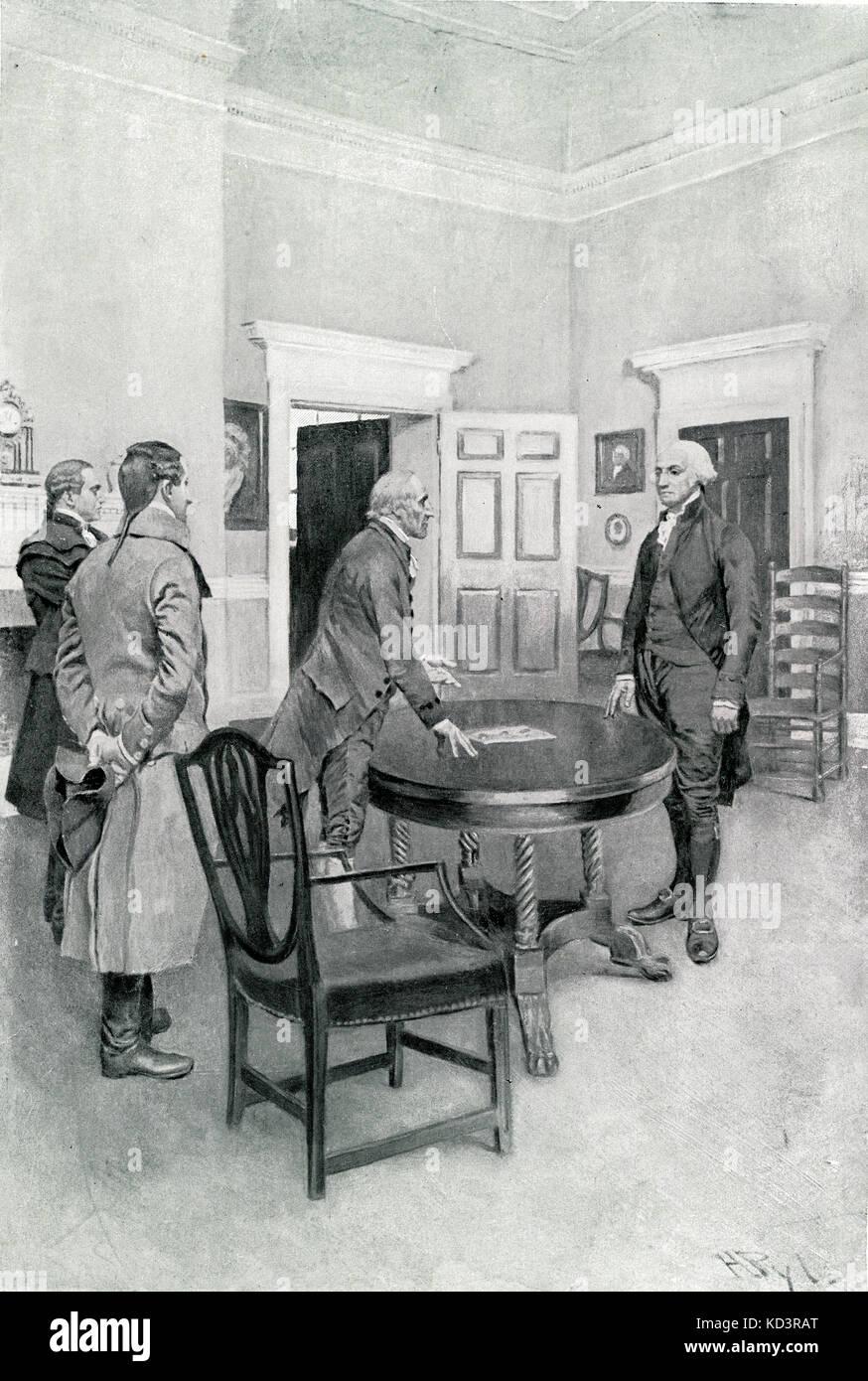 Charles Thompson kündigt George Washington seine Wahl zum ersten Präsidenten der Vereinigten Staaten in Mount Vernon, 1789 an. Illustration von Howard Pyle, 1896 Stockfoto