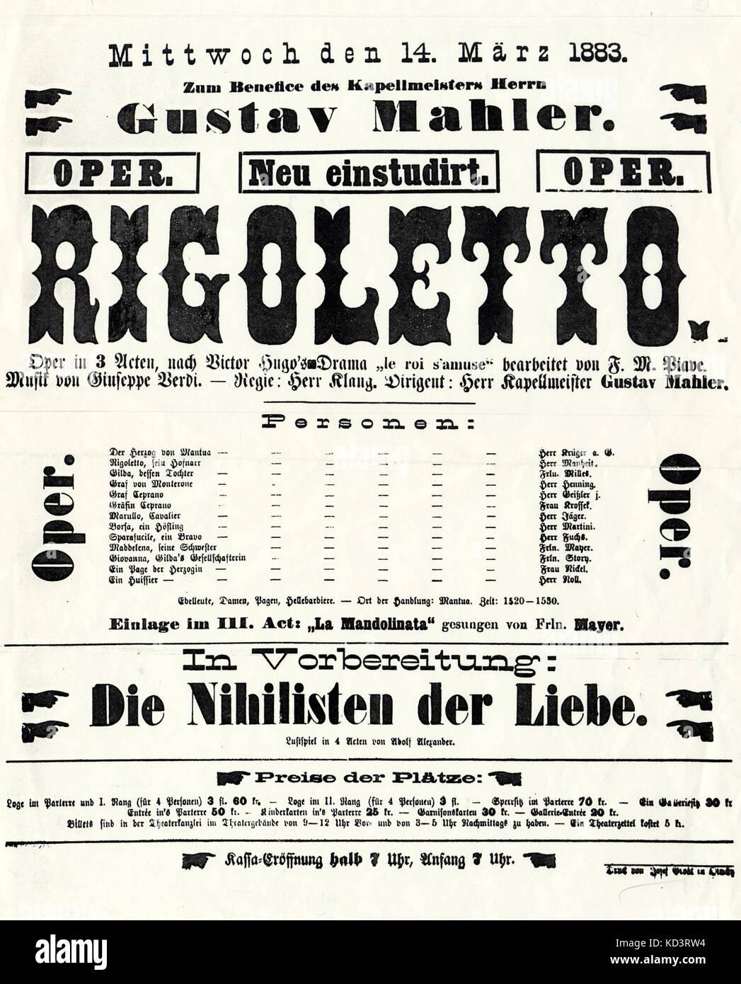 Plakat Werbung Gustav Mahler Durch Verdi Rigoletto Wien 14 März