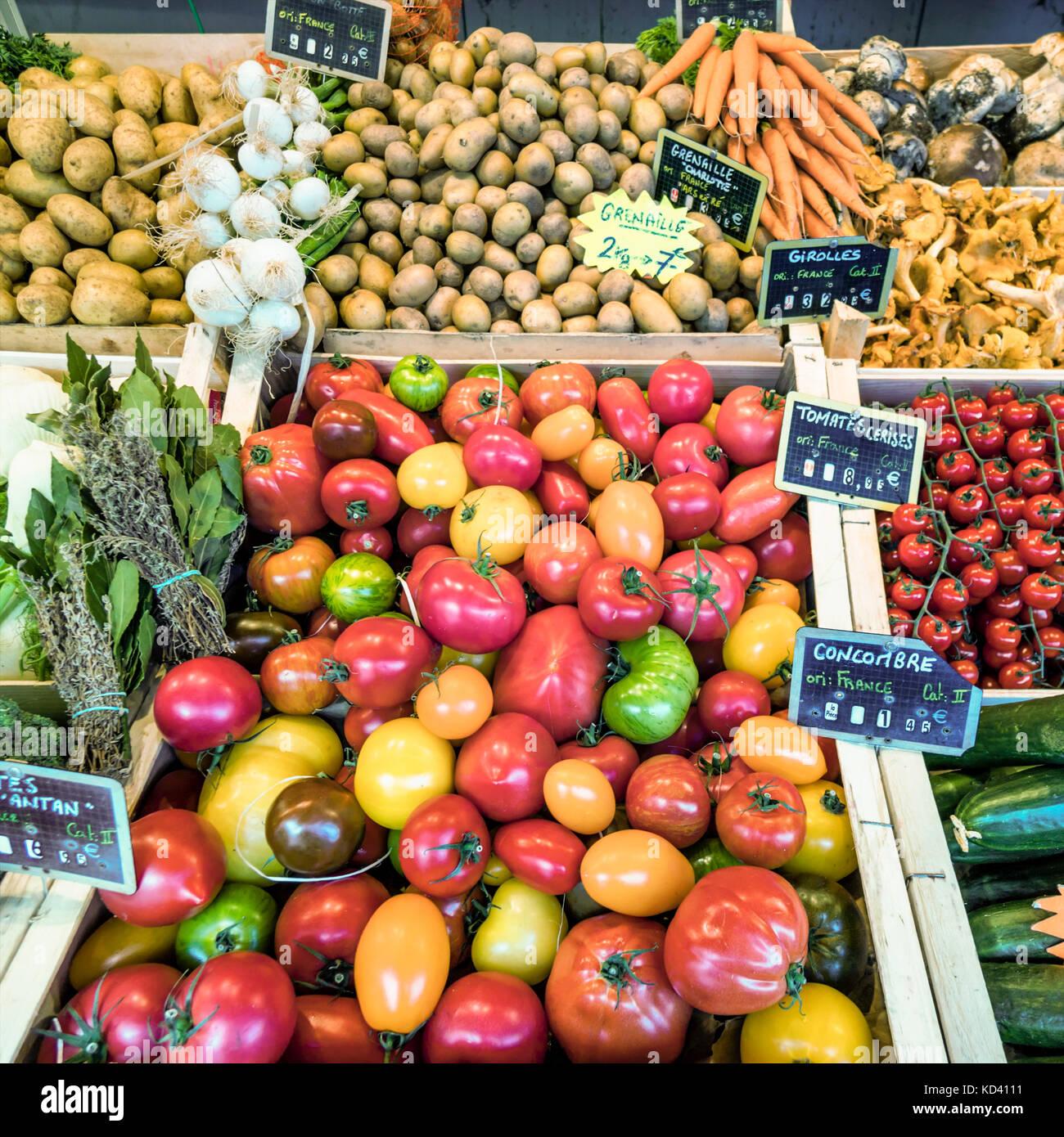 Markt, Gemüse, Ile de Re, Nouvelle - Aquitaine, Französisch westcoast, Frankreich, Stockbild