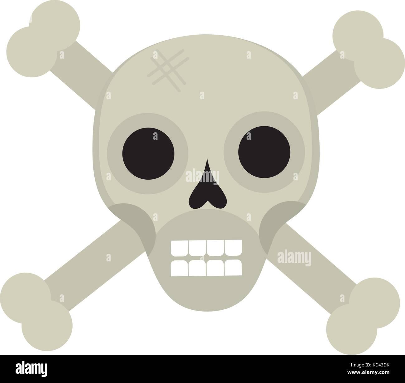 Knochen und Schädel Symbol flacher Stil. auf weißem Hintergrund ...