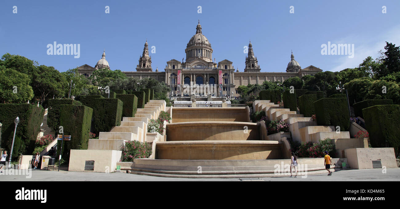 Museu Nacional d'Art de Catalunya Katalanische Nationalmuseum für Kunst MNAC Plaza de España Barcelona Stockbild
