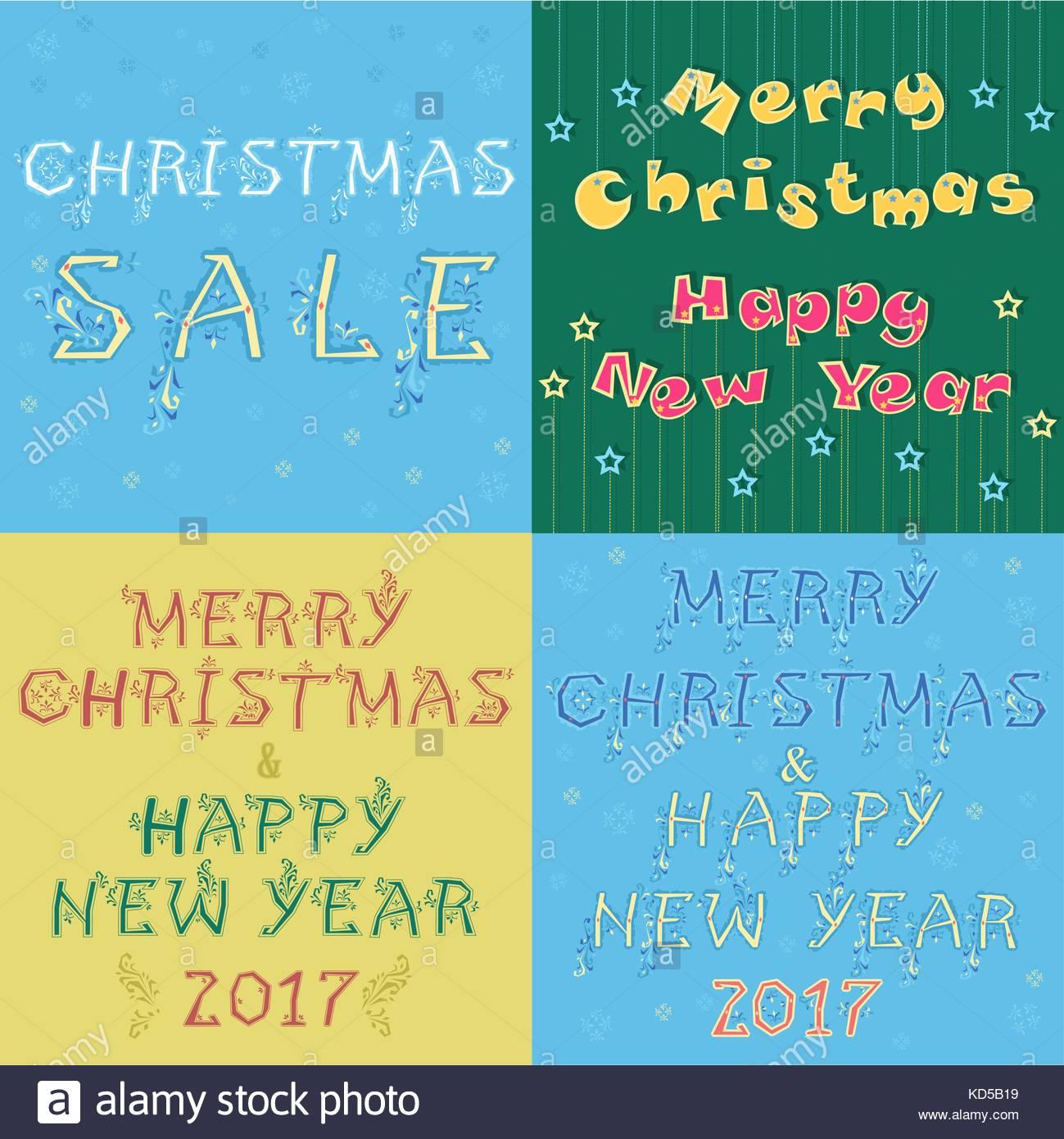 Weihnachten und Neujahr Karten mit Texten von künstlerischen Font ...