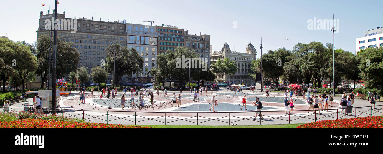 Panoramablick von der Plaça de Catalunya in Barcelona Catalunya Spanien Stockbild