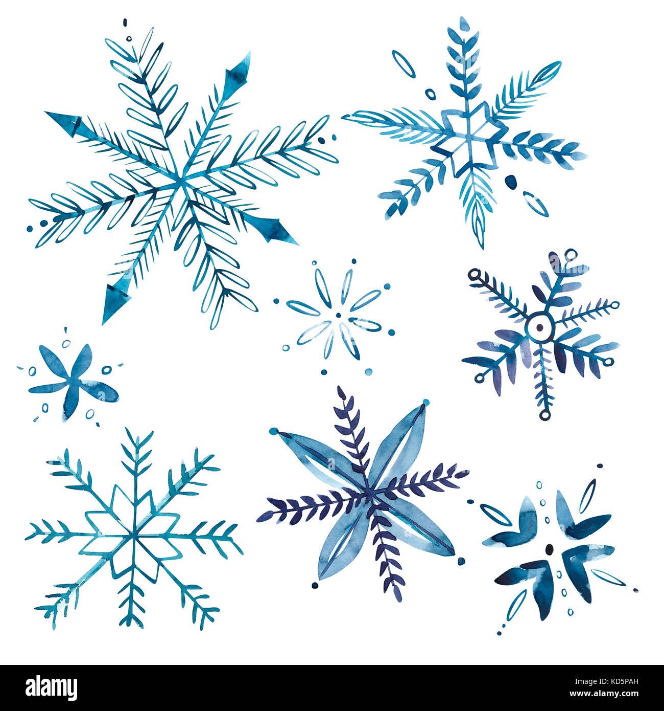 Satz von Aquarell Schneeflocken isoliert auf Weiss. Weihnachten ...