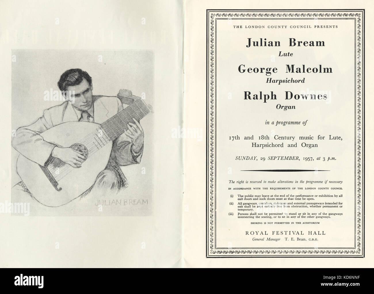Julian Bream spielte die Laute in der Londoner Royal Festival Hall Concert Programm Zeichnung von Julian Bream, Stockbild