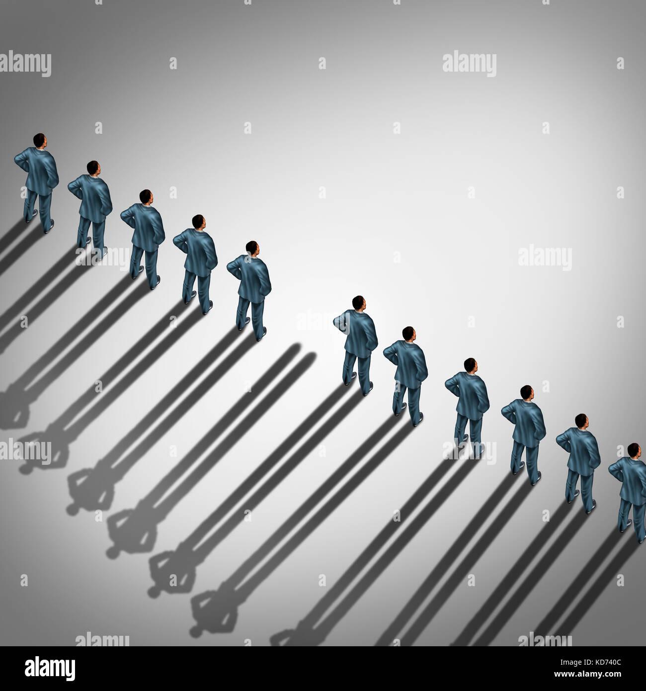 Mitarbeiter unsichtbar und anonym inaktiv Arbeiter als Business Beschäftigung oder Entlassung Konzept in einer Stockbild