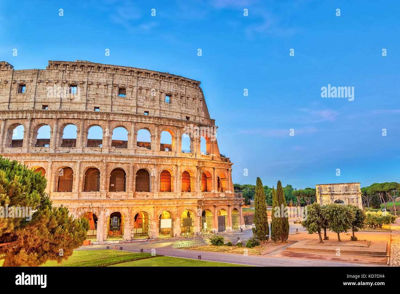 Rom sunrise city Skyline am Kolosseum Kolosseum Rom (Roma), Rom, Italien Stockbild