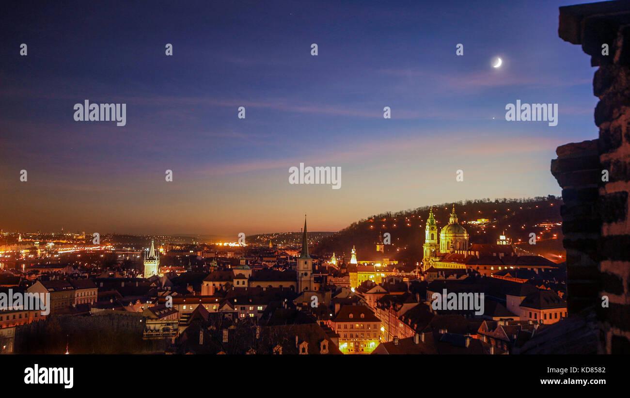 City Skyline bei Nacht, Prag, Tschechische Republik Stockbild