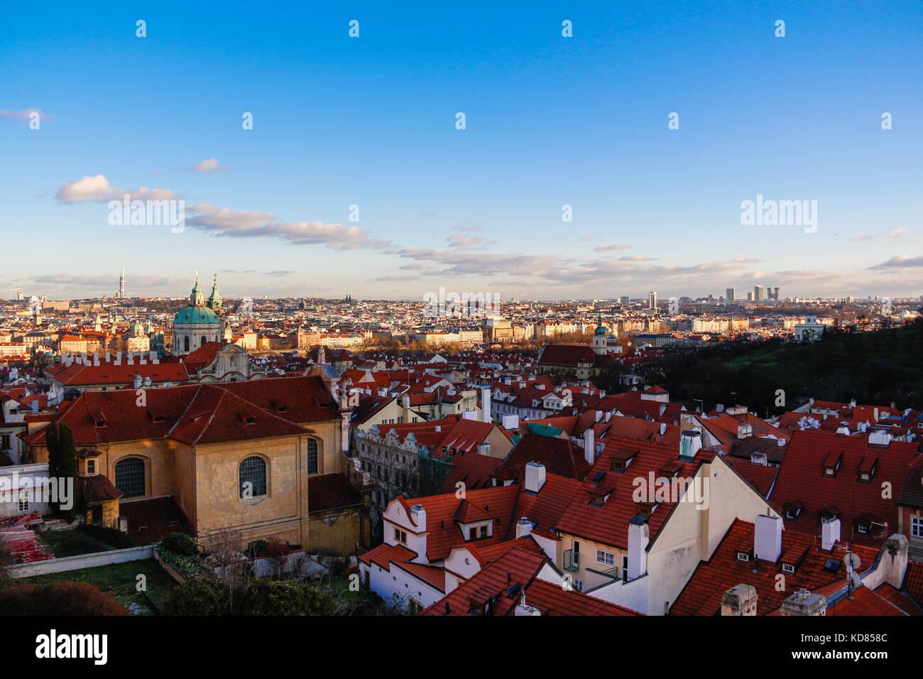Luftaufnahme der Stadt, Prag, Tschechische Republik Stockbild