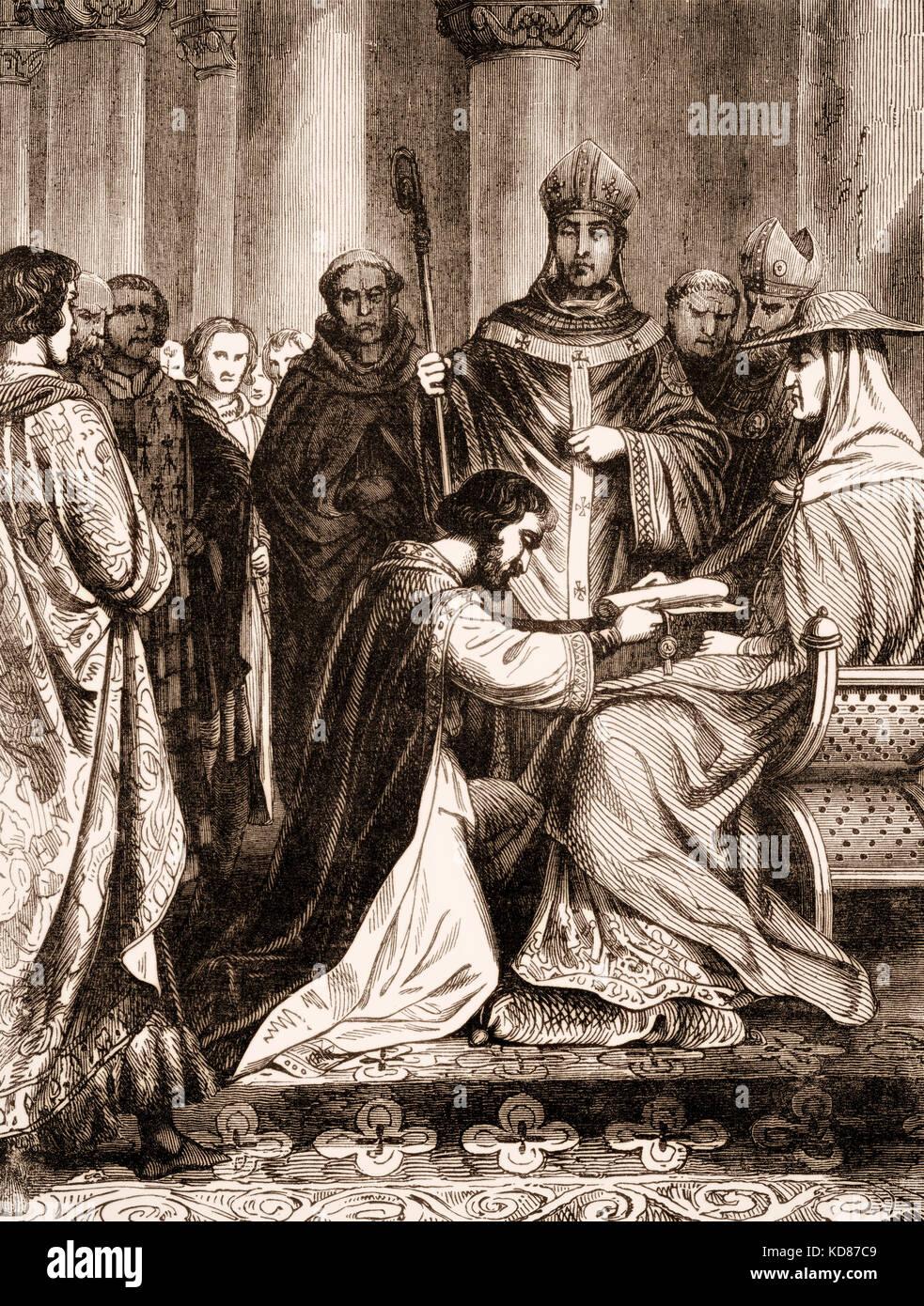Lothar Ii 835 869 Konig Von Lothringen Kniete Vor Dem Papst Hadrian Ii Stockfotografie Alamy