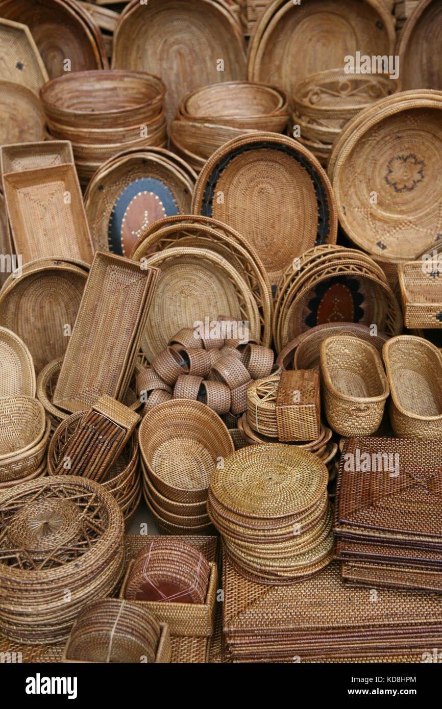 Körbe und Korbwaren zum Verkauf in Bali - Körbe und Geschenke für Verkauf auf Bali Stockbild