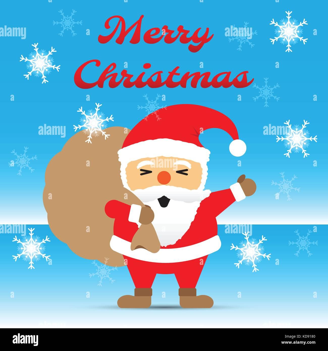 Frohe Weihnachten, chubby santa claus seine Hand winken und ein ...