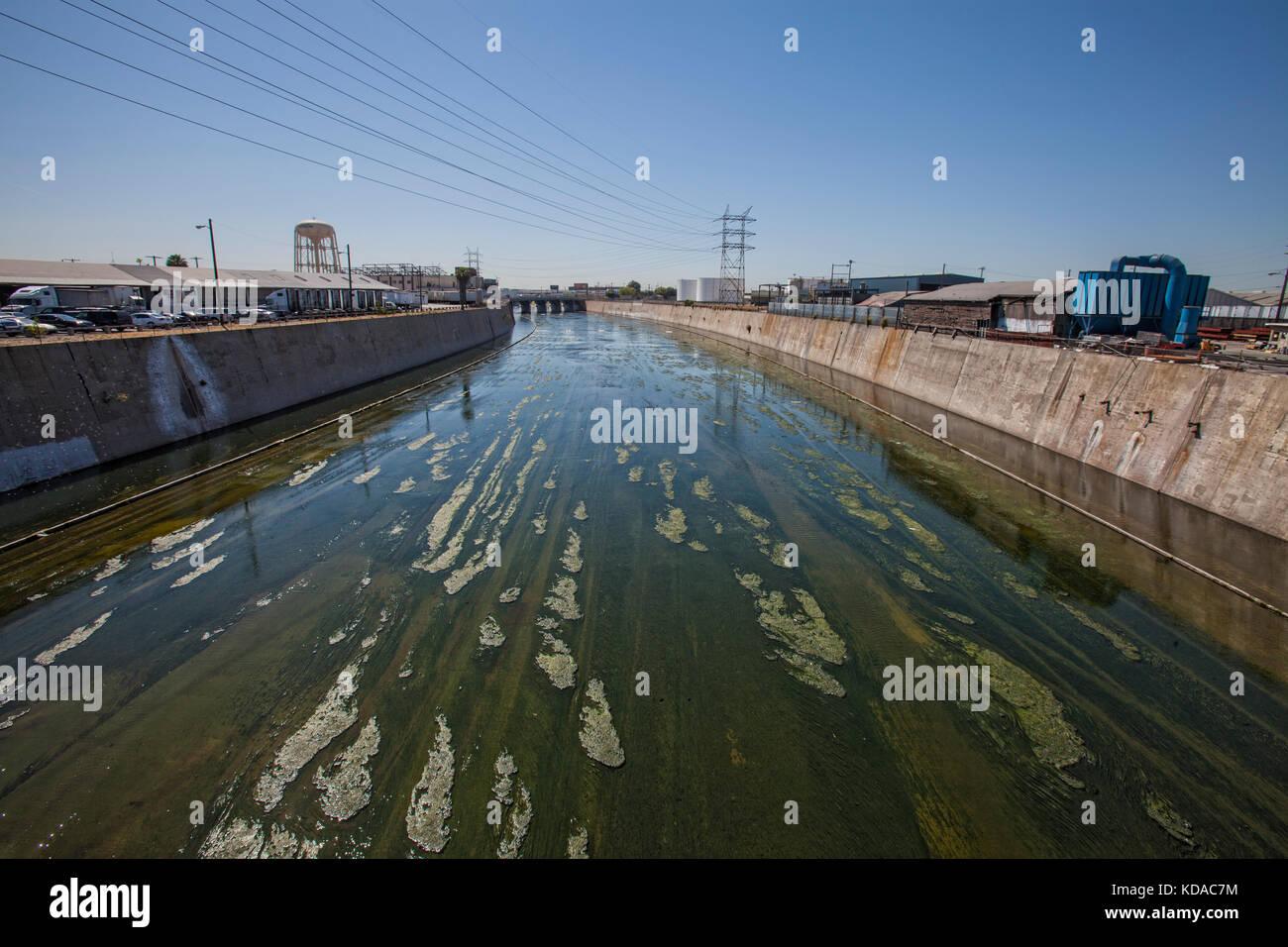 Los angeles River in der Nähe der Innenstadt von Los Angeles, Kalifornien, USA Stockfoto