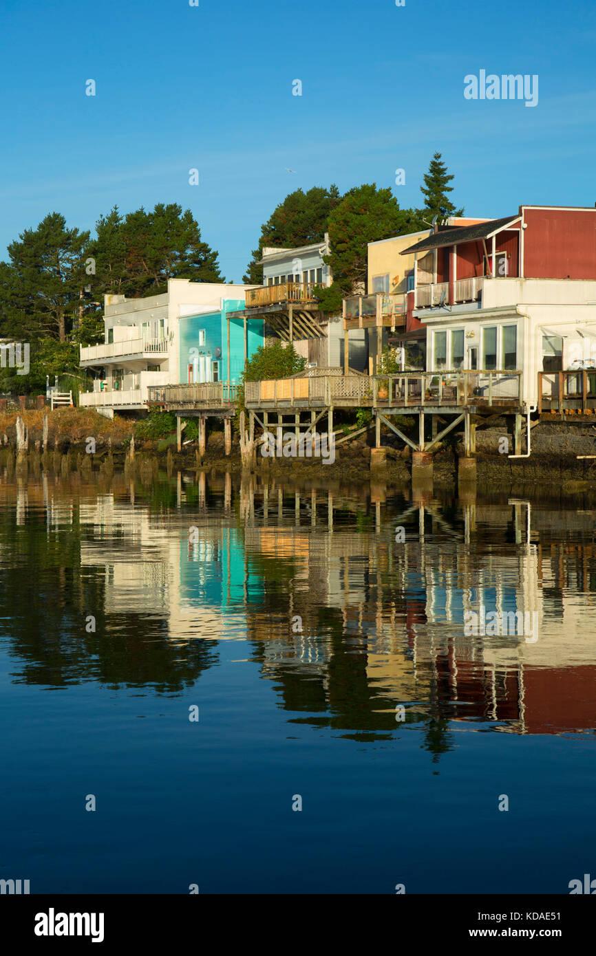 Siuslaw Bay Waterfront, Florence, Oregon Stockbild