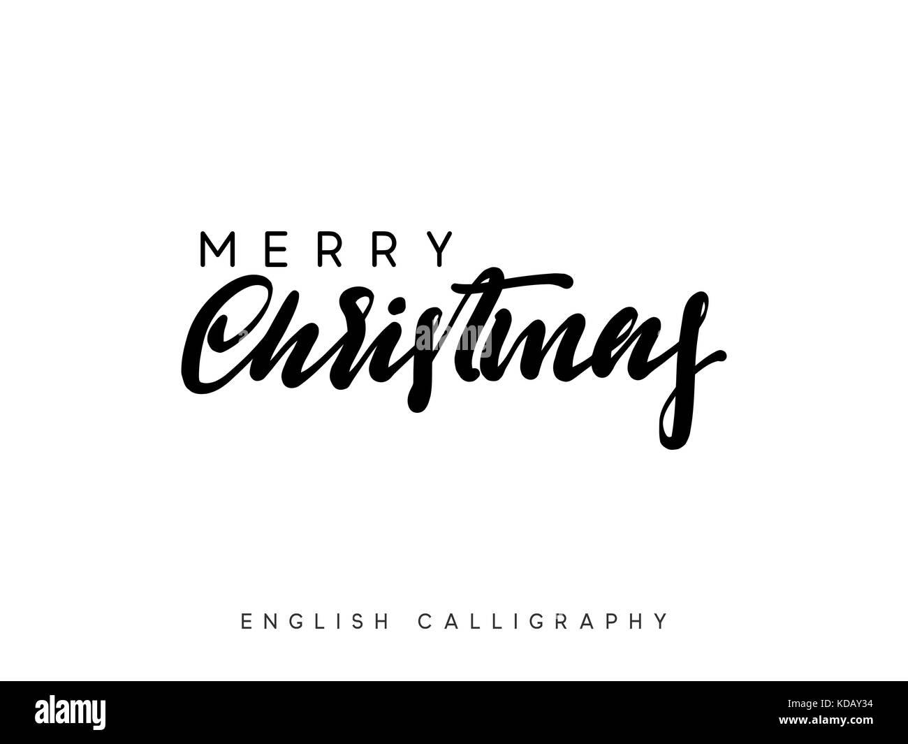 Text frohe Weihnachten. Weihnachten Hand gezeichnet Kalligraphie ...