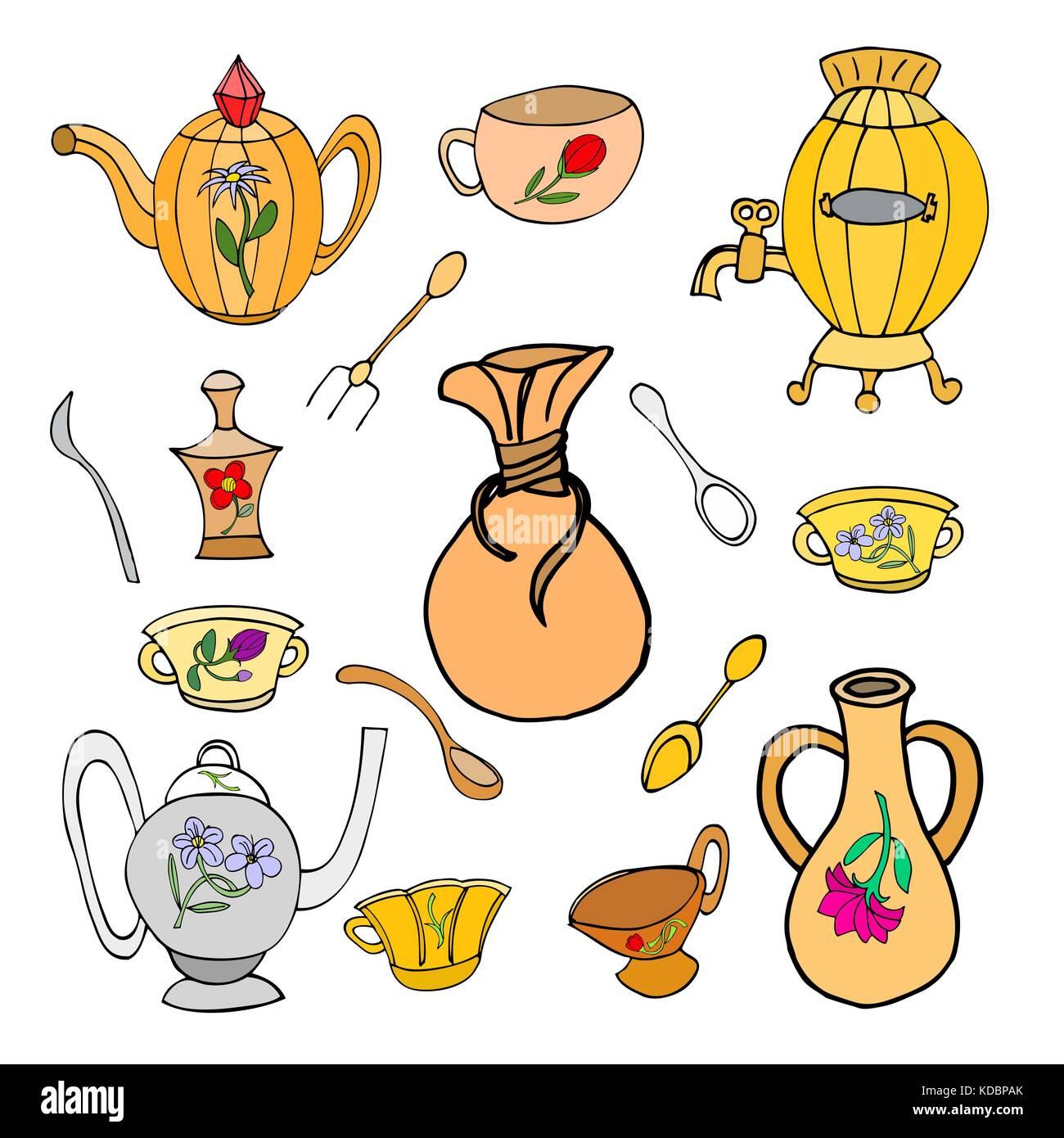 Kochen sichern Flachbild doodle Symbole, Küchenutensilien elegantes ...