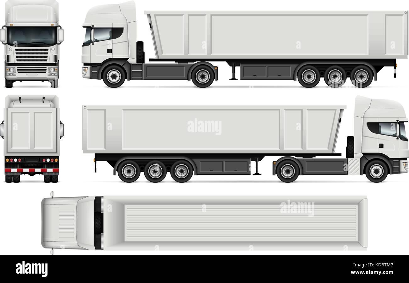 Lkw mit Anhänger Vektor mock up für Fahrzeugbeschriftung, Werbung ...