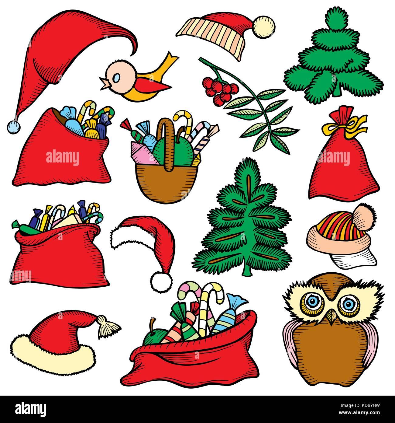 Comic Frohe Weihnachten.Bunte Patch Abzeichen Der Verschiedenen Frohe Weihnachten Attribute