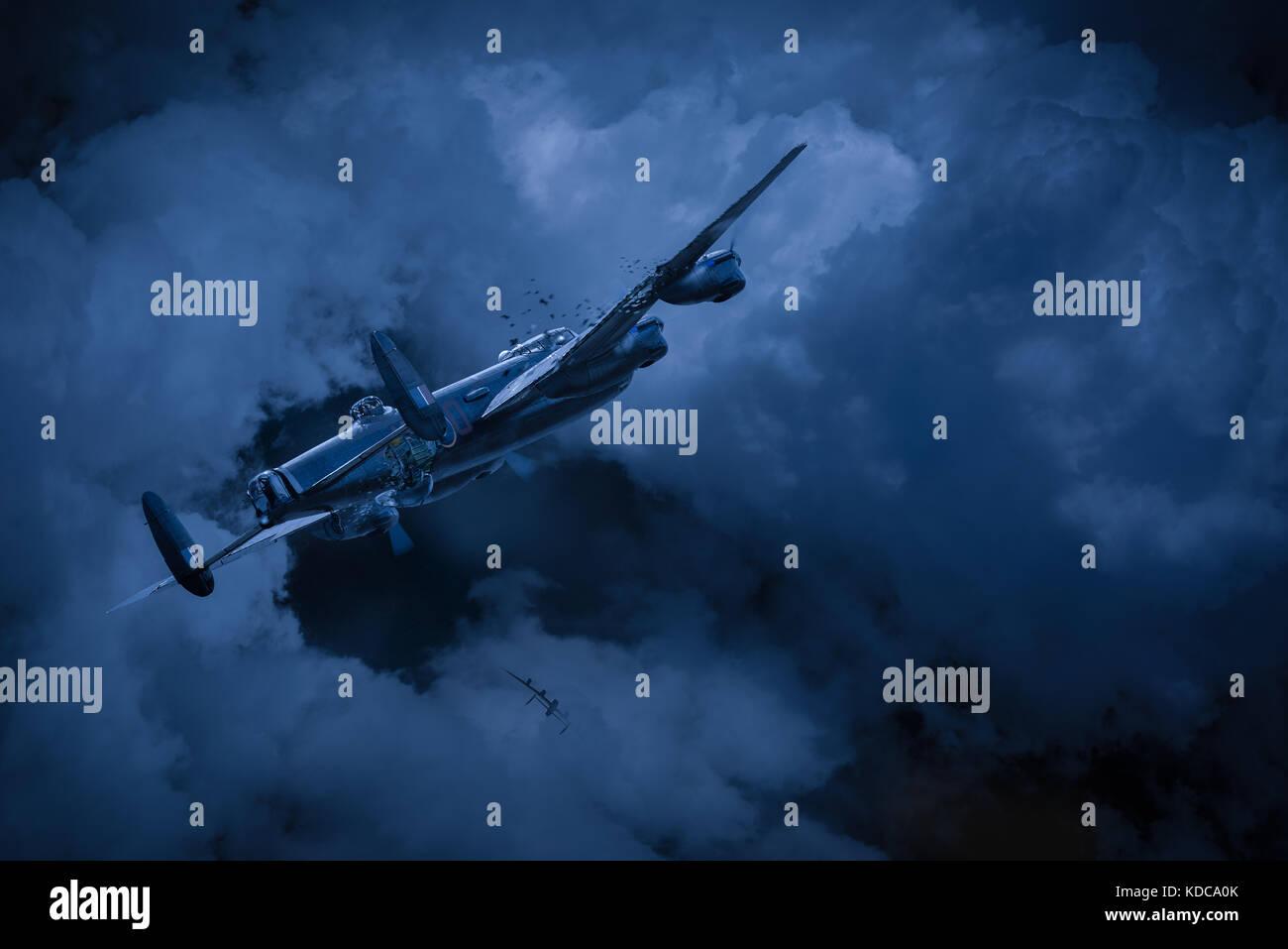 460 Squadron RAAF Lancaster ND 968, AR-O'Oboe' schlingert, gewaltsam in eine Abwärtsspirale nach betroffen Stockbild