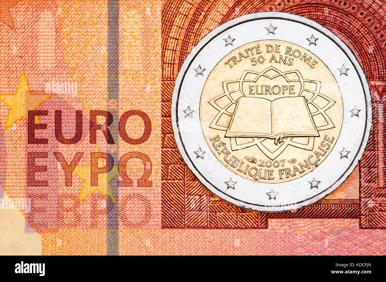 Französisch 2 Euro Münze Auf 10 Euro Hinweis 50 Jahrestag Des