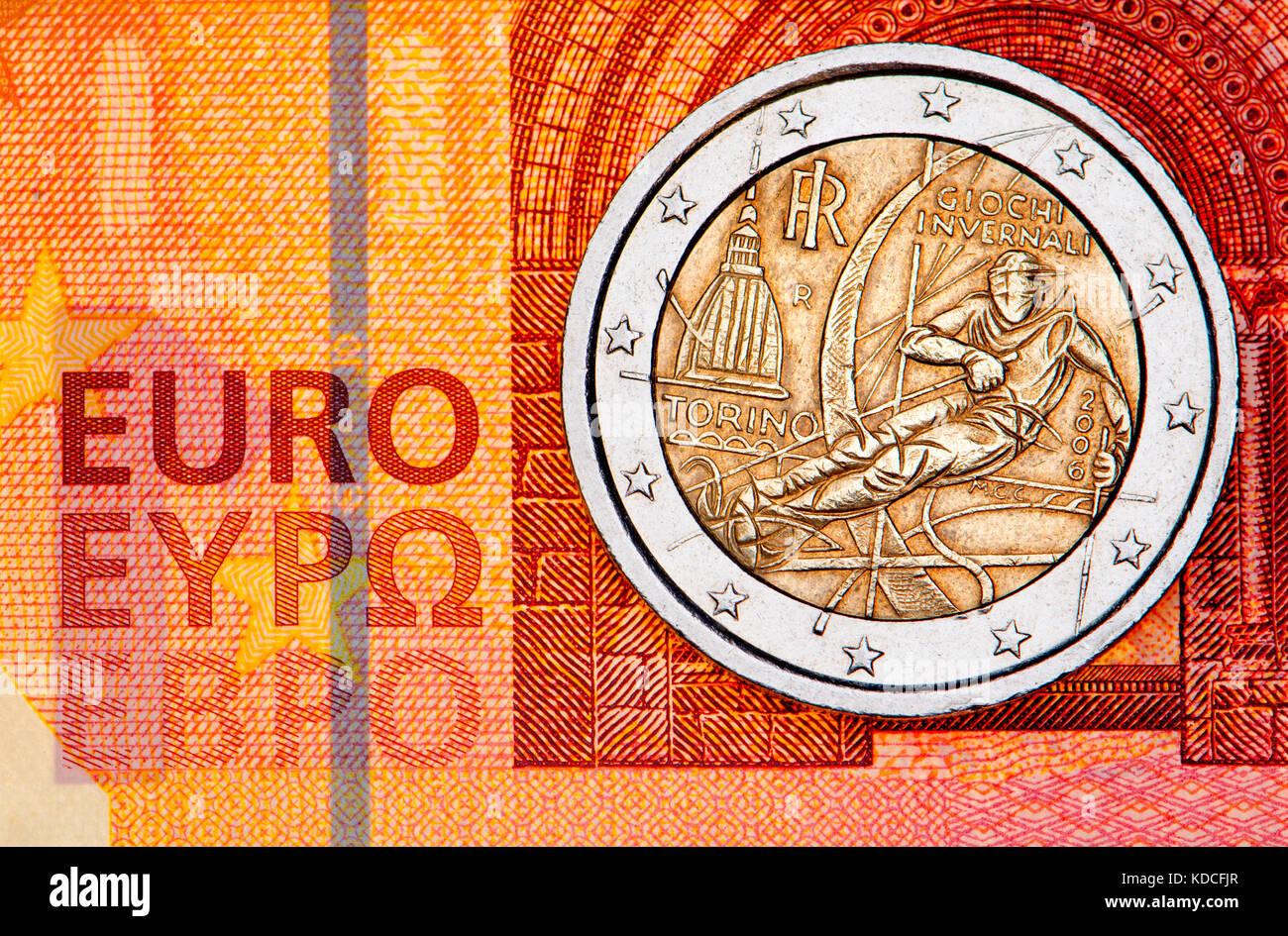 Italienische 2 Euro Münze Auf 10 Euro Hinweis Die Olympischen