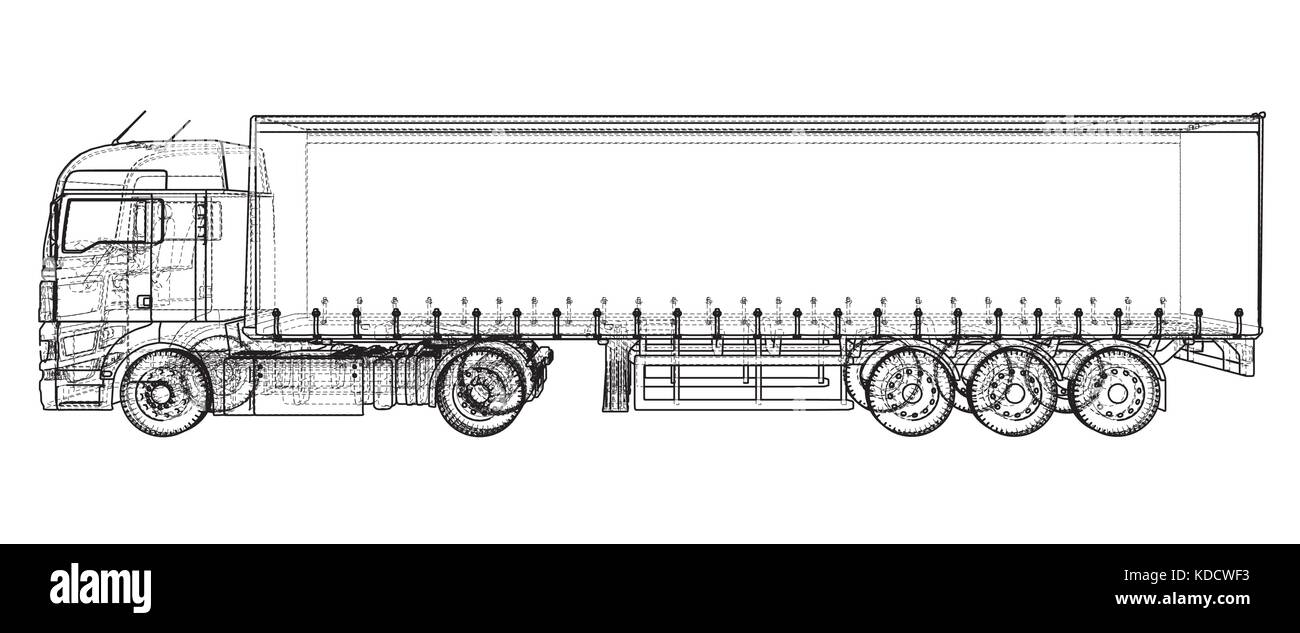 Cargo Truck Trailer Abstrakte Zeichnung Wire Frameeps 10 Format How To A Car Vektor Erstellt Von 3d