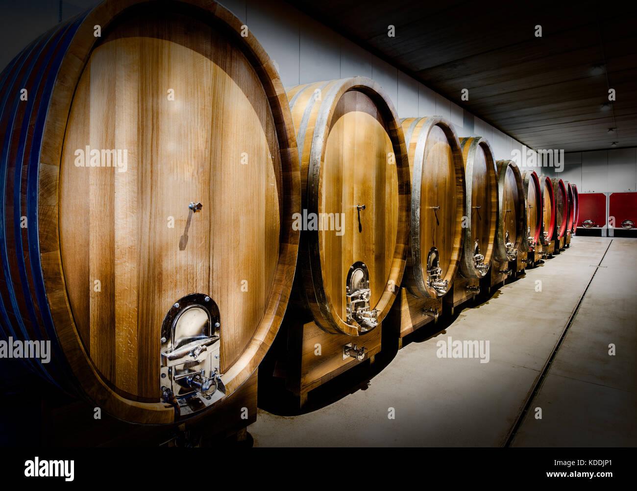 Große Fässer der Alterung der Weine Metall-beschaeftigten in Italien Stockbild