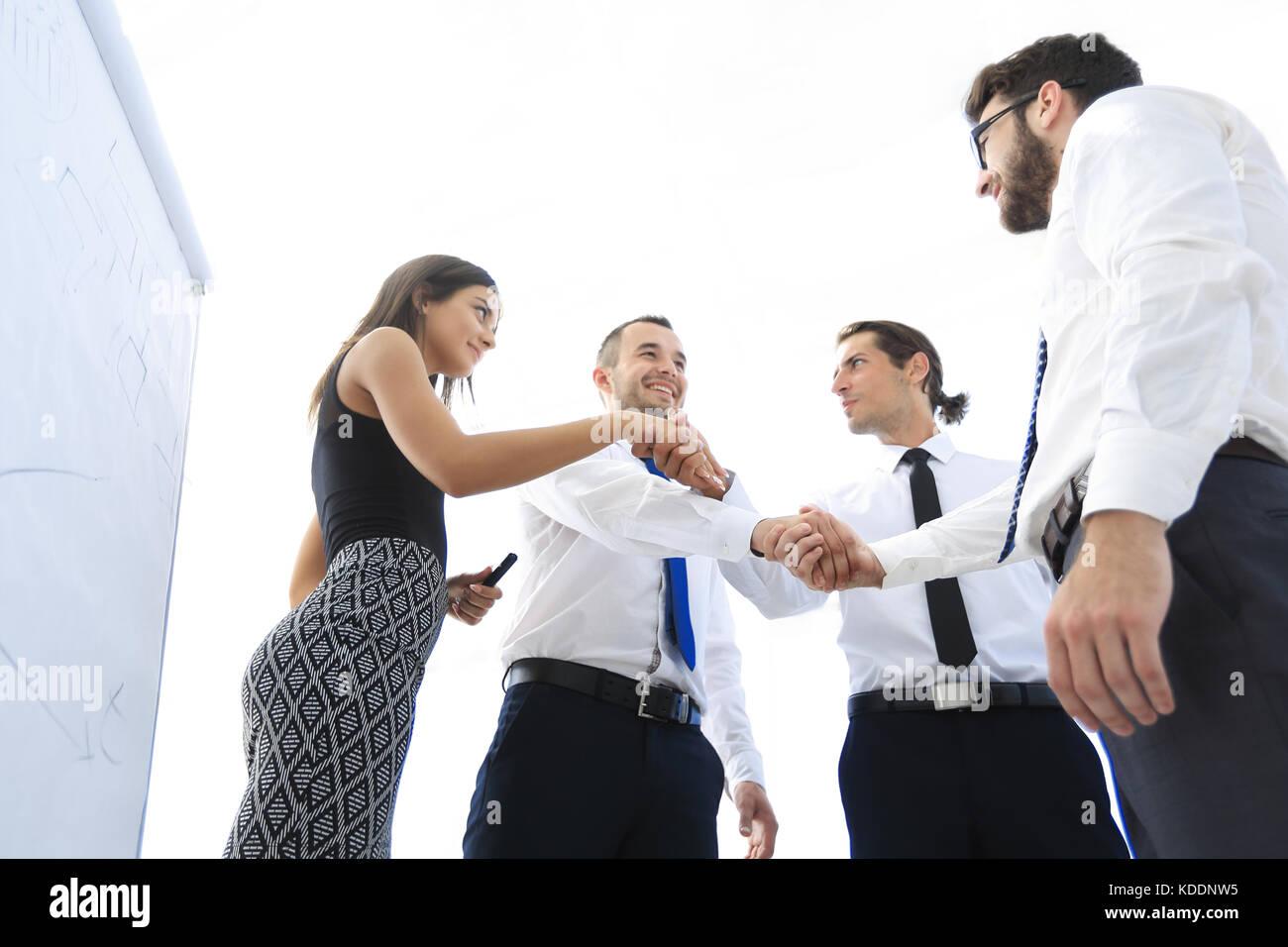 Handshake erfolgreiche Geschäft Leute. Das Geschäftskonzept. Stockbild