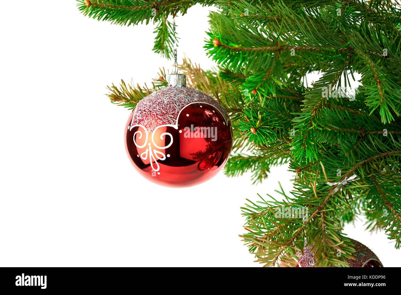 Kugel Für Tannenbaum.Weihnachten Hintergrund Mit Tannenbaum Zweige Und Rote Dekoration