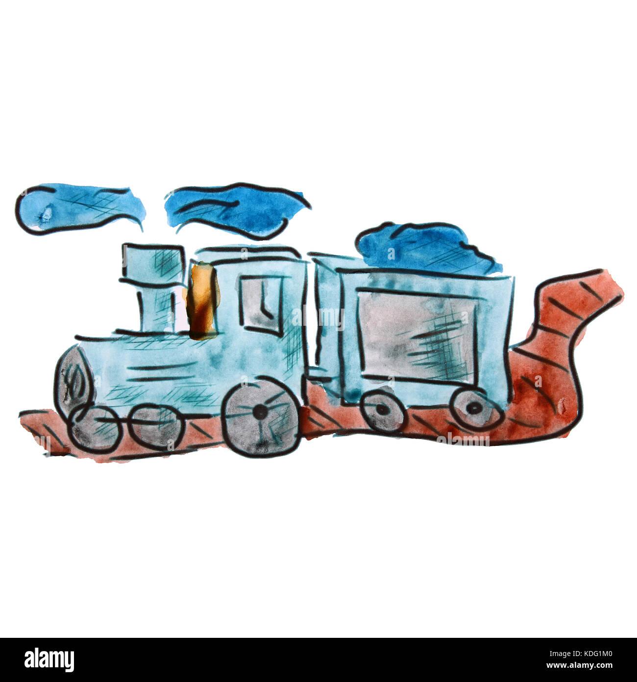 Aquarell Zug Blau Cartoon Zeichnen Auf Weißem Hintergrund Stockfoto