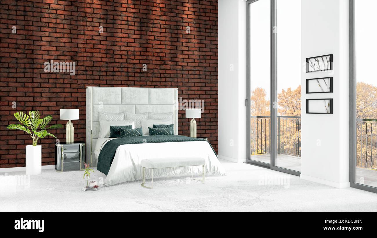 Marke Neue Weiße Schlafzimmer Im Loft Minimal Style Interior Design Mit  Copyspace Wand Und Aus Dem Fenster Zu Sehen. 3D Rendering.