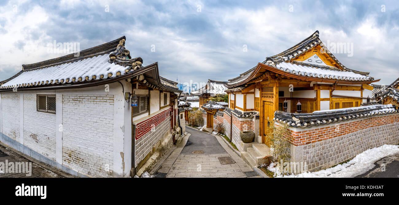Seoul, Südkorea an der Bukchon Hanok Historic District. Stockbild