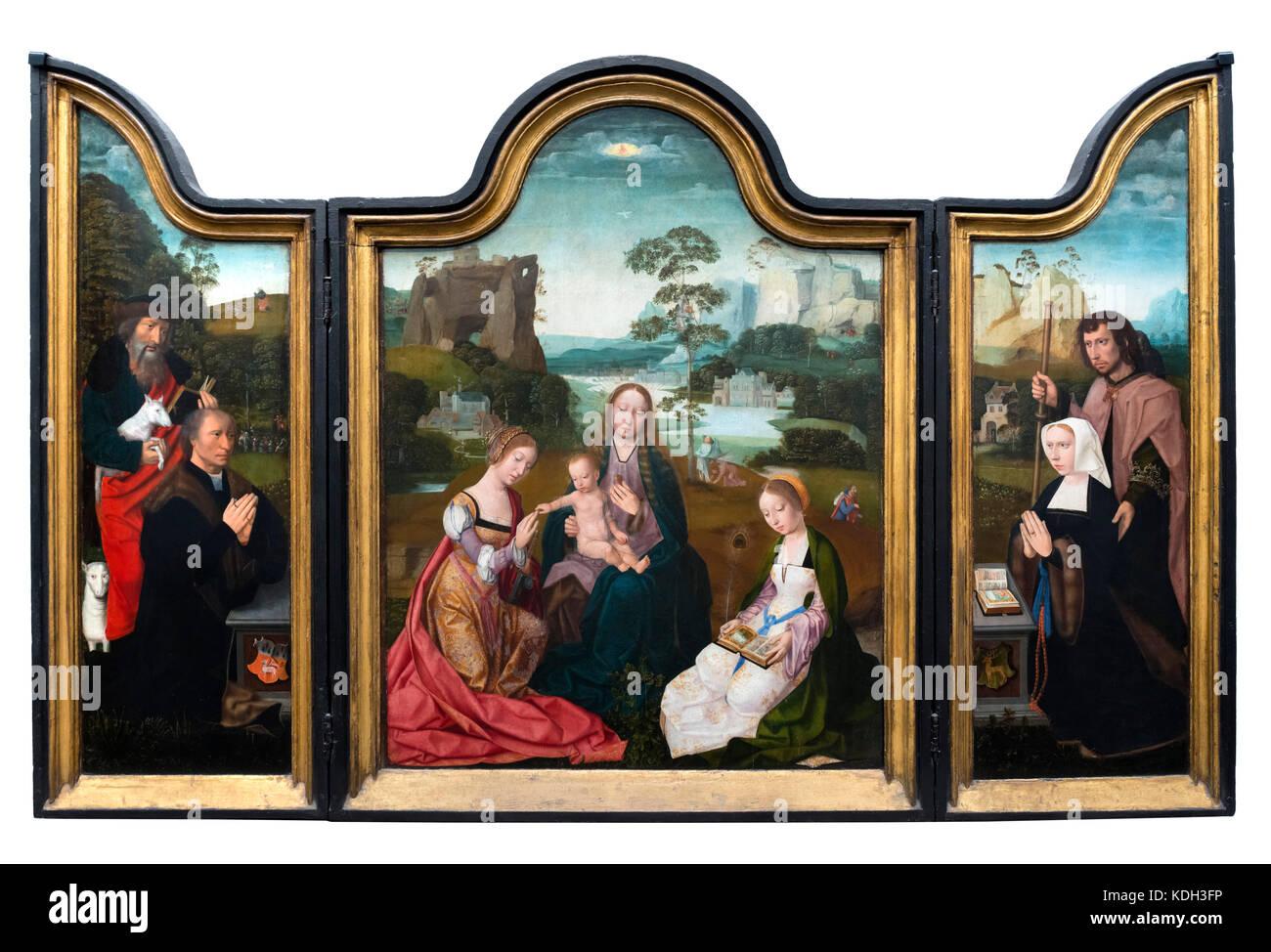 Triptychon mit dem Titel Madonna mit Heiligen Katharina und Barbara von Meister des Heiligen Blutes (1500-1520), Stockbild