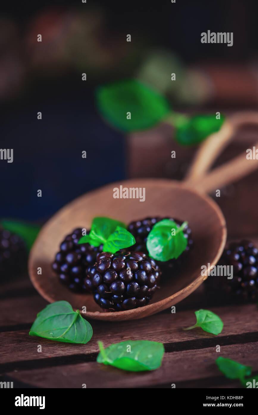 Kleine hölzerne Schüssel mit frischen Brombeeren und Minzeblättchen. dunklen Essen Fotografie mit Stockbild