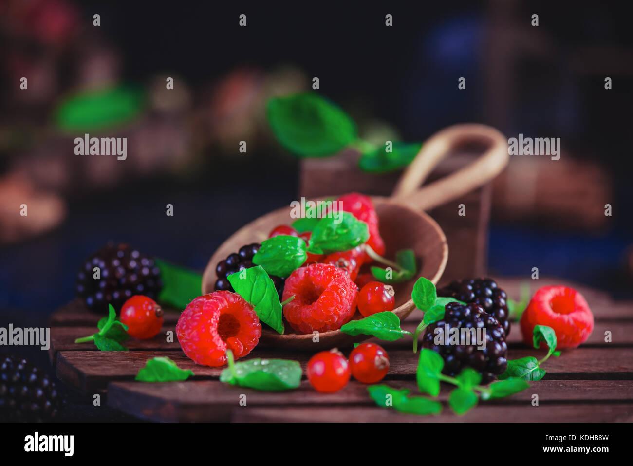 Sommer noch Leben mit Beeren in eine grosse Löffel aus Holz auf einem dunklen Hintergrund. Himbeere und Blackberry Stockbild