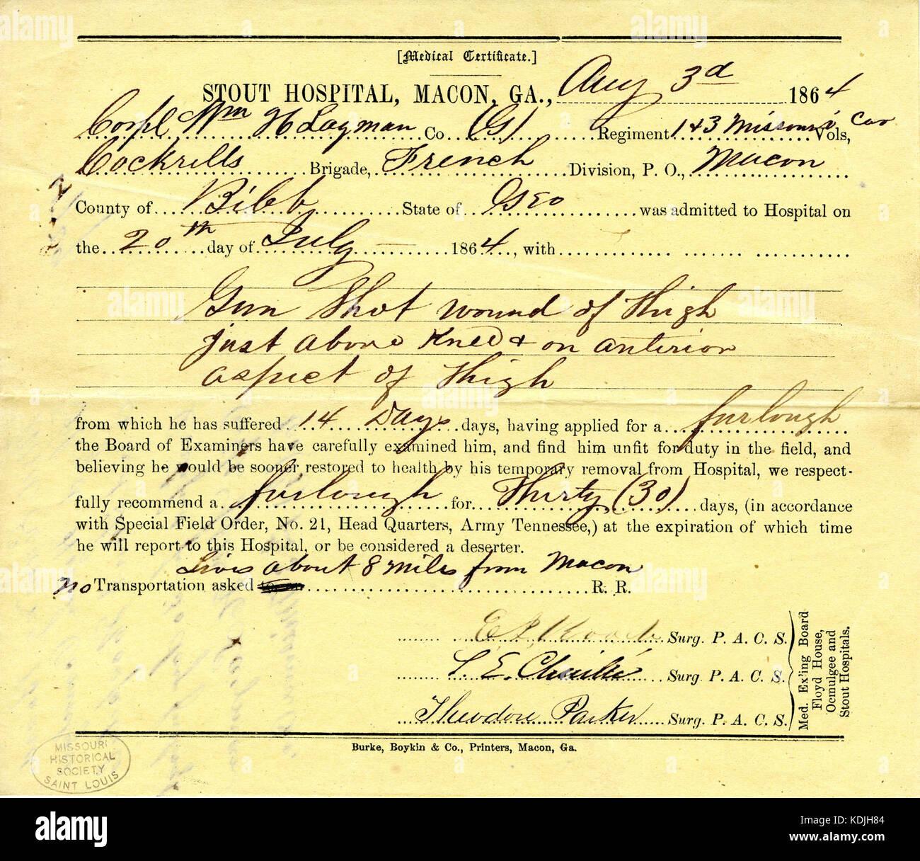 Ärztliche Bescheinigung von William H. Lagman, 3. August 1864 ...