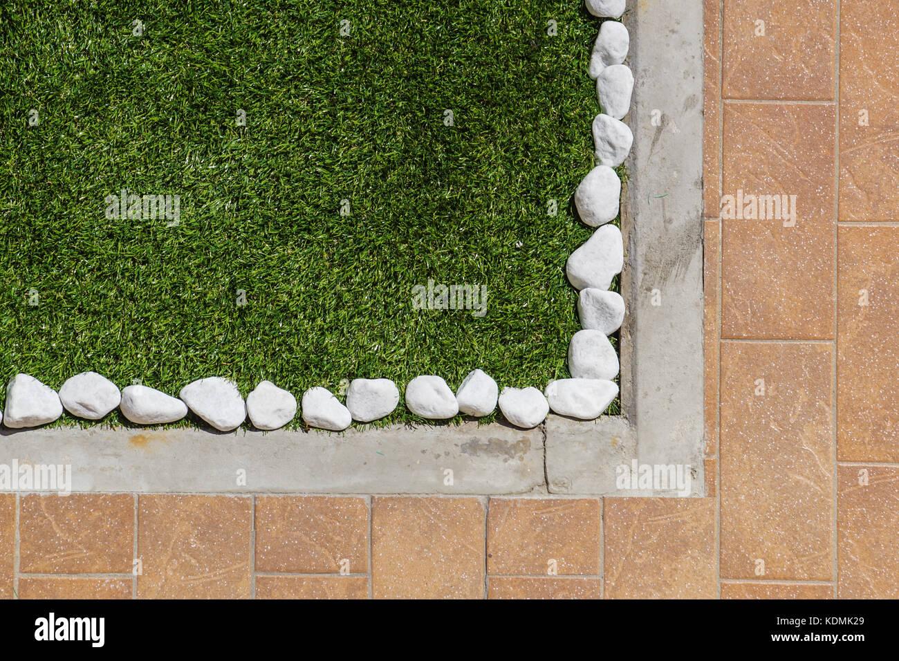 Boden Mit Fliesen Und Zierpflanzen Kies Verschiedene