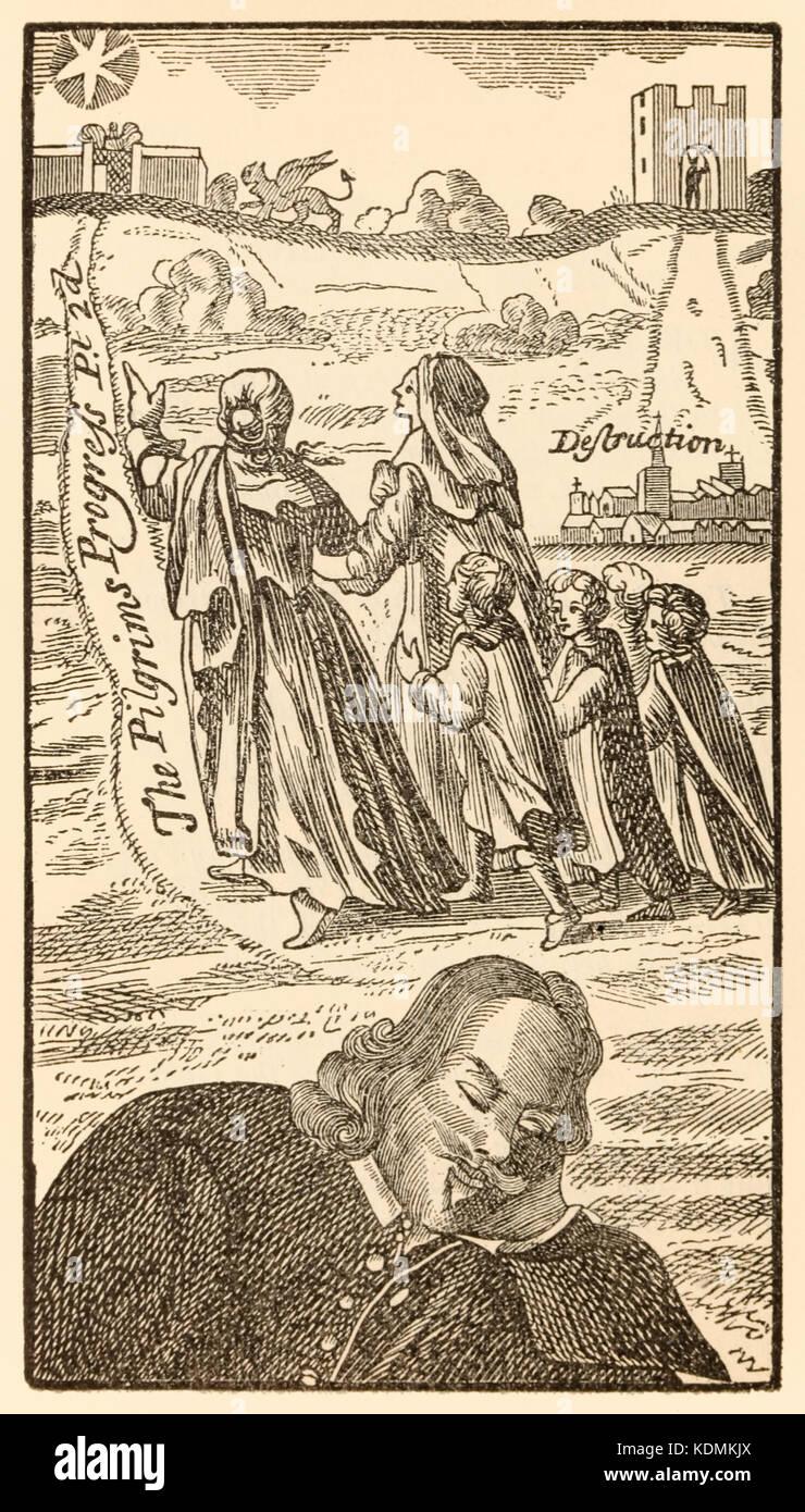 """Frontispiz aus dem zweiten Teil von """"Der Pilger Fortschritt aus dieser Welt, zu dem, was von John Bunyan (1628 Stockbild"""