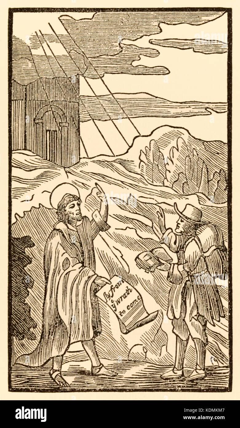 """Christian kaum Blätter der Welt erfüllt aber Evangelist"" aus ""Der Pilger Fortschritt aus Stockbild"