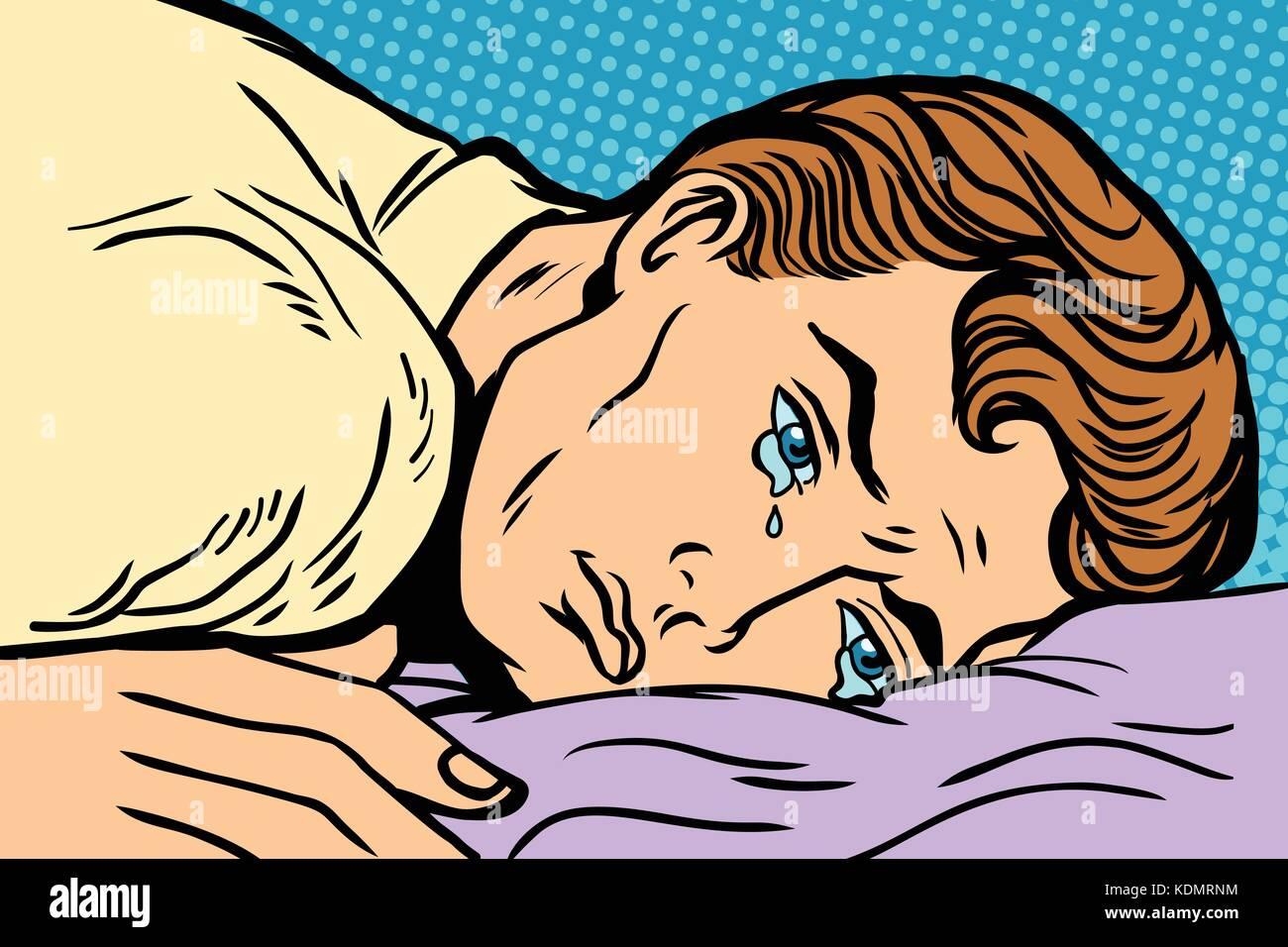 Man Liegt Auf Dem Bett Depression Trauer Und Traurigkeit Comic