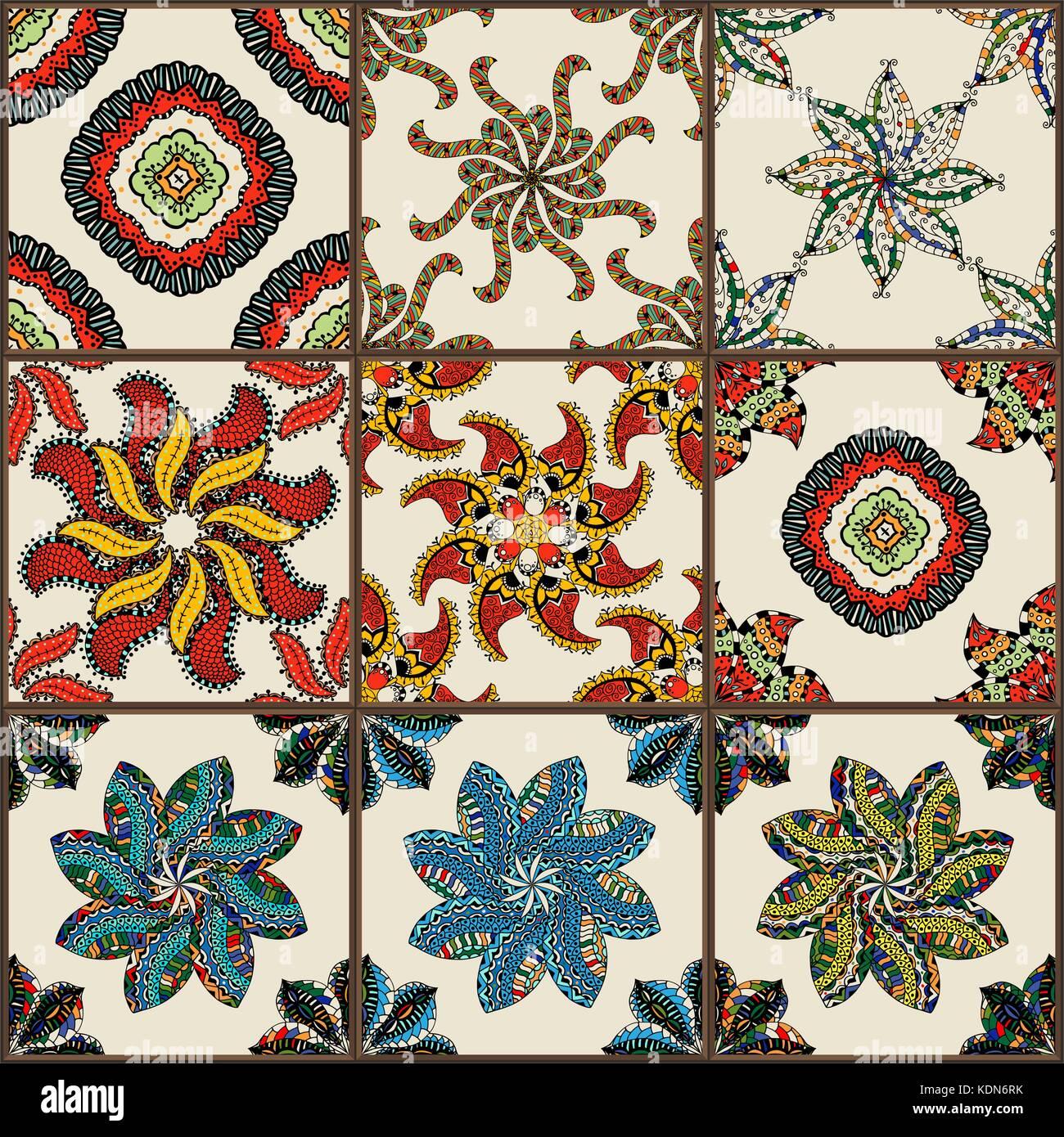 keramische fliesen set glasiert. bunt vintage fliesen mit floralen