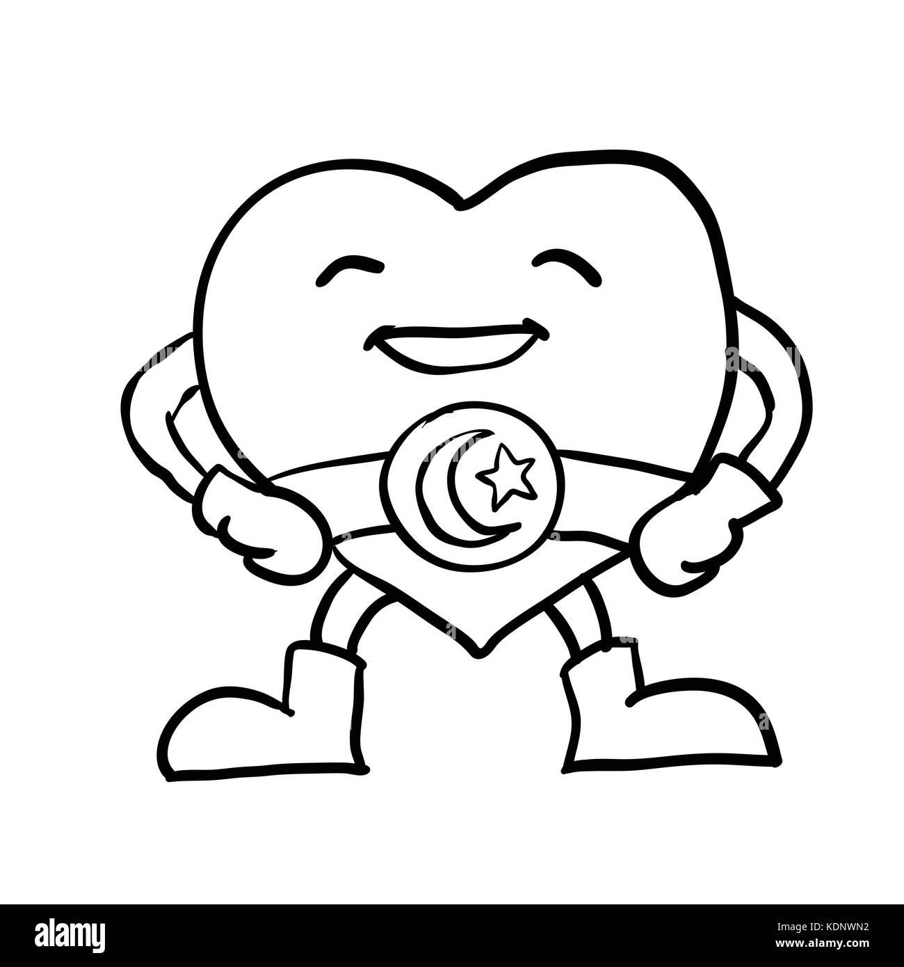 Hand Zeichnung von Cartoon lächelndes Herz mit Halbmond Stern auf ...