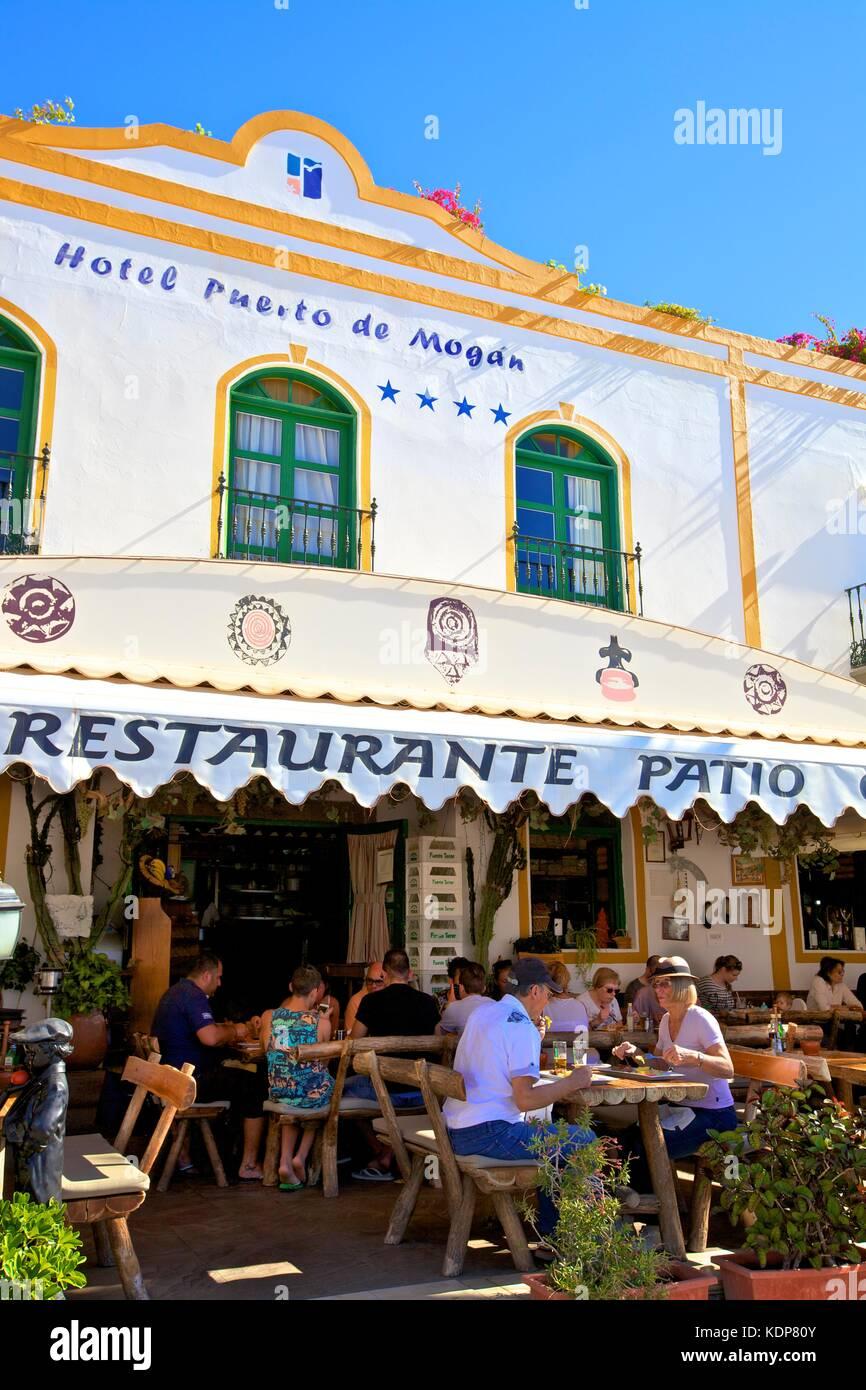 Restaurant in Puerto de Mogan, Gran Canaria, Kanarische Inseln, Spanien, Atlantik, Europa Stockbild