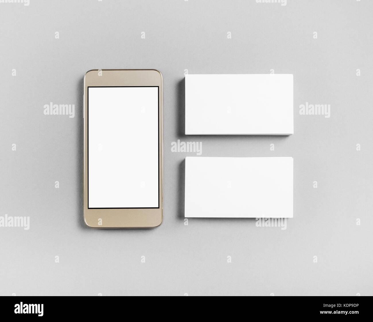 Visitenkartenvorlagen Und Smartphone Auf Grauem Papier