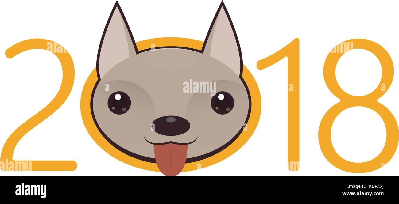 2018 Frohes neues Jahr gruss Logo. Feier Hintergrund mit Hund ...