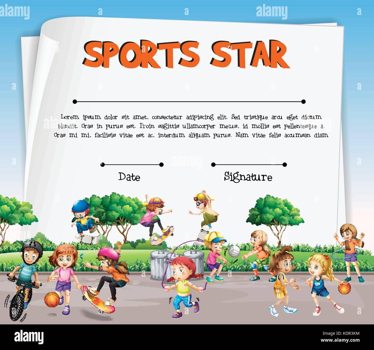Sport Stern Zertifikat Vorlage mit Kindern Sport Abbildung Vektor ...