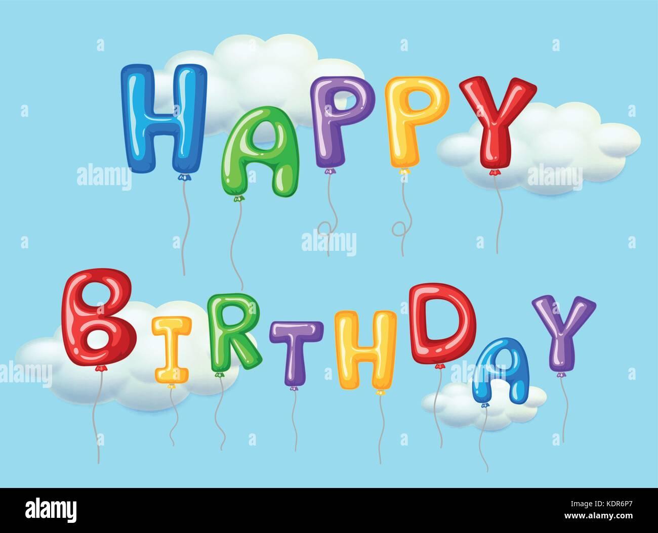 Happy Birthday Karte Mit Bunten Luftballons Abbildung Stockbild